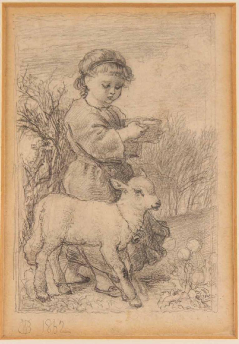 Pencil Drawing, Girl with Lamb - 2