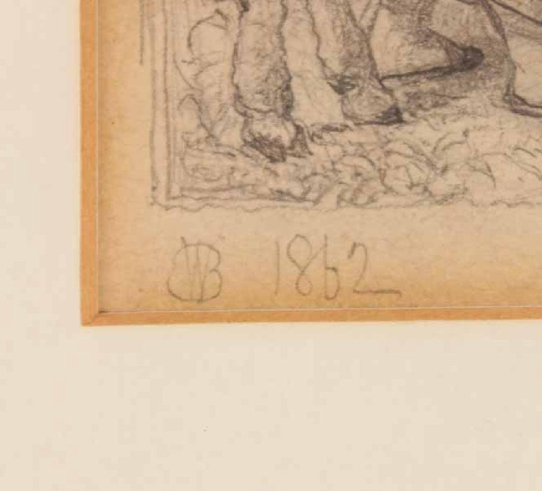 Pencil Drawing, Girl with Lamb - 3