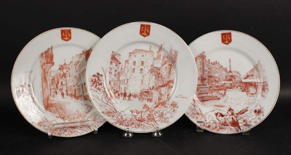 Five Red Painted Plates, Streets of Liege - 8