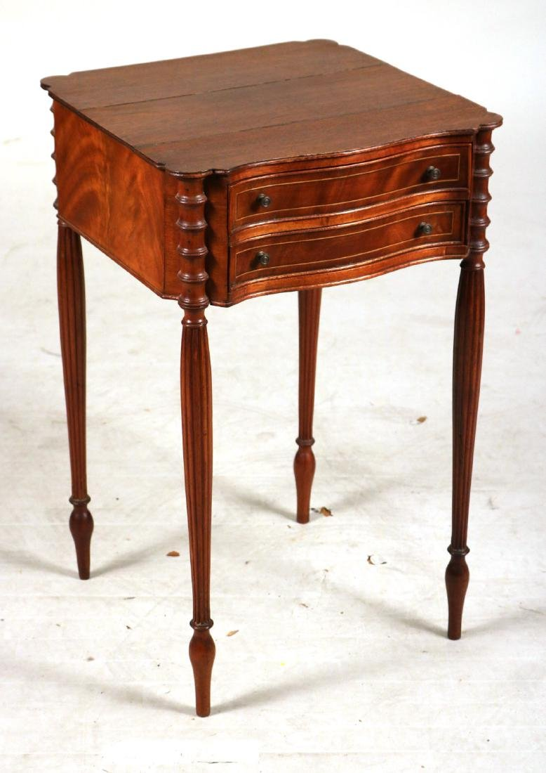 Federal Inlaid Mahogany Two-Drawer Side Table