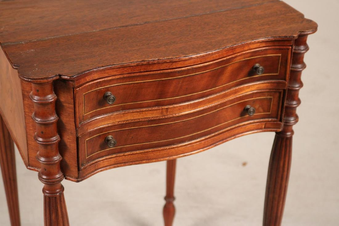 Federal Inlaid Mahogany Two-Drawer Side Table - 2