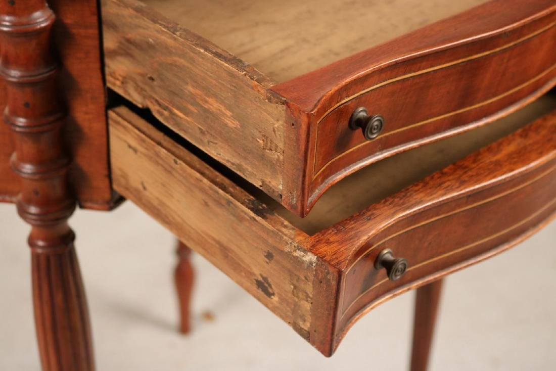 Federal Inlaid Mahogany Two-Drawer Side Table - 6