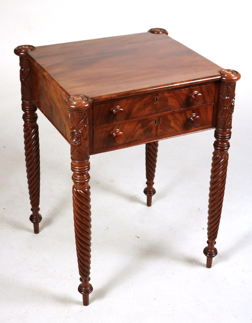 Federal Mahogany Two Drawer Work Table - 2