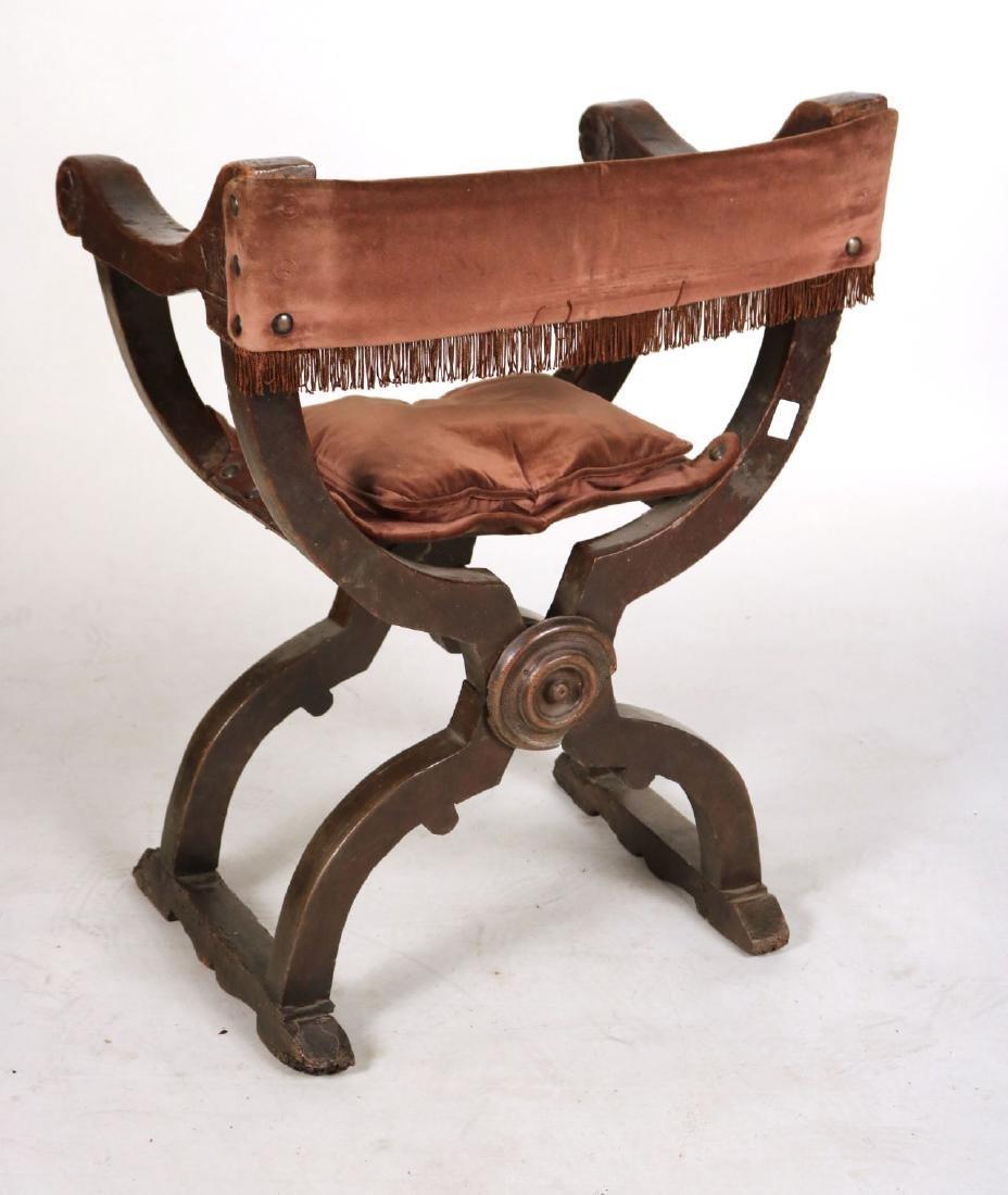 Three Carved Walnut Savonarola Chairs - 10
