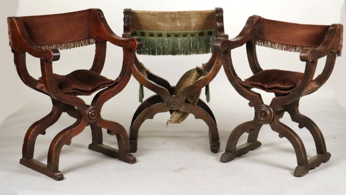 Three Carved Walnut Savonarola Chairs