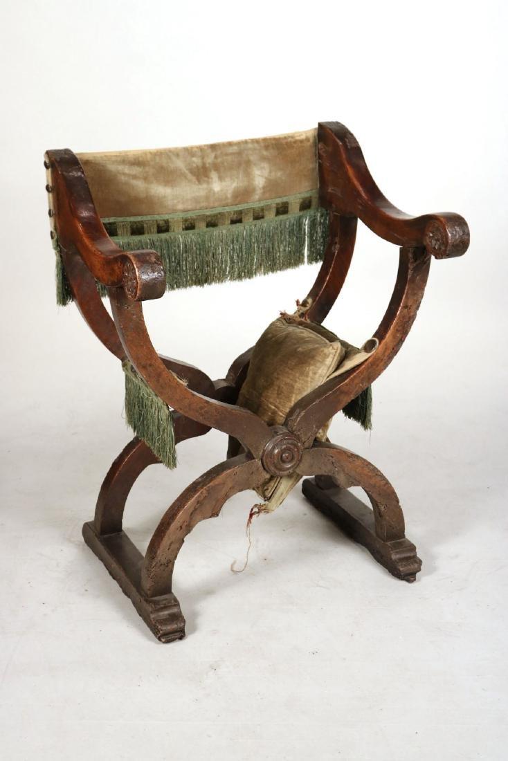 Three Carved Walnut Savonarola Chairs - 2