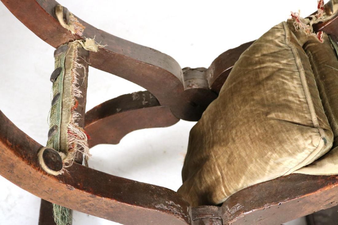 Three Carved Walnut Savonarola Chairs - 3