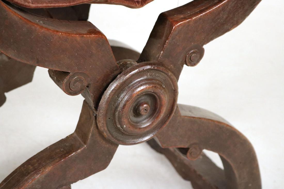 Three Carved Walnut Savonarola Chairs - 8