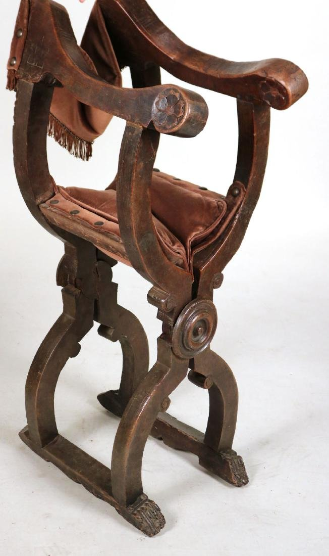 Three Carved Walnut Savonarola Chairs - 9