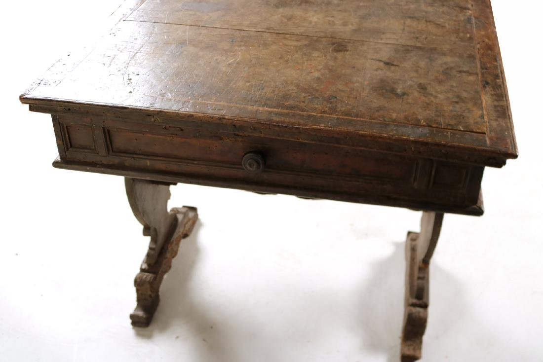 Baroque Carved Walnut One-Drawer Table - 10
