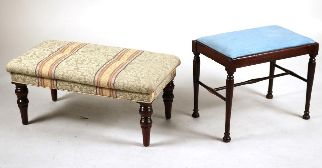 Two Upholstered Mahogany Ottomans