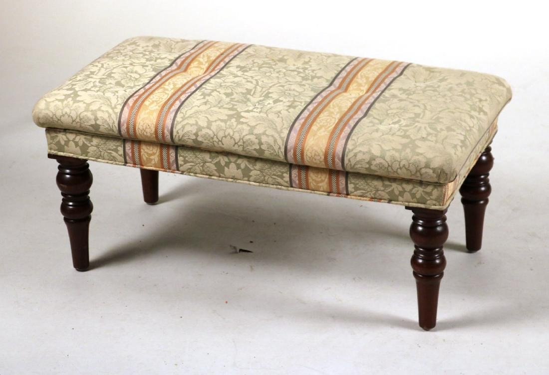 Two Upholstered Mahogany Ottomans - 2
