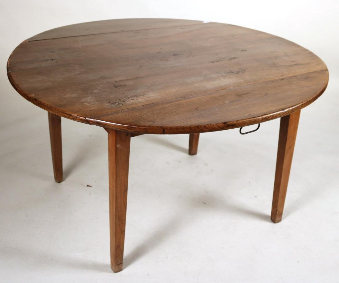Provincial Style Oak Drop Leaf Dining Table - 6