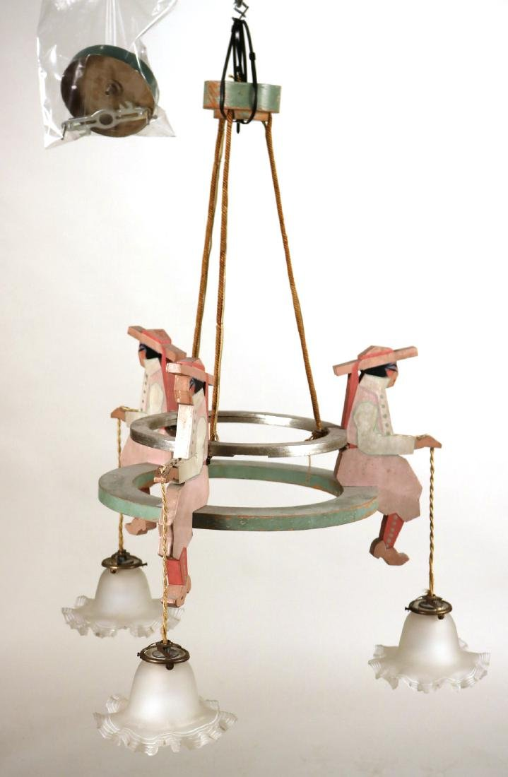 Painted Wood Figural Three-Light Chandelier