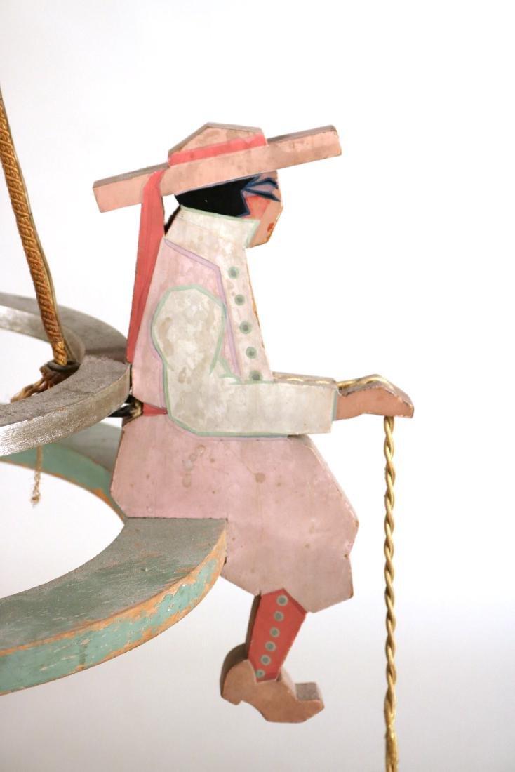 Painted Wood Figural Three-Light Chandelier - 2
