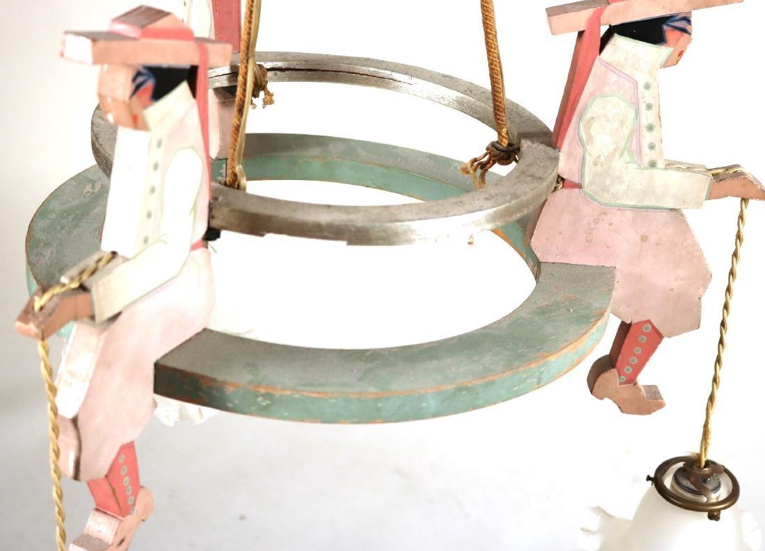 Painted Wood Figural Three-Light Chandelier - 4