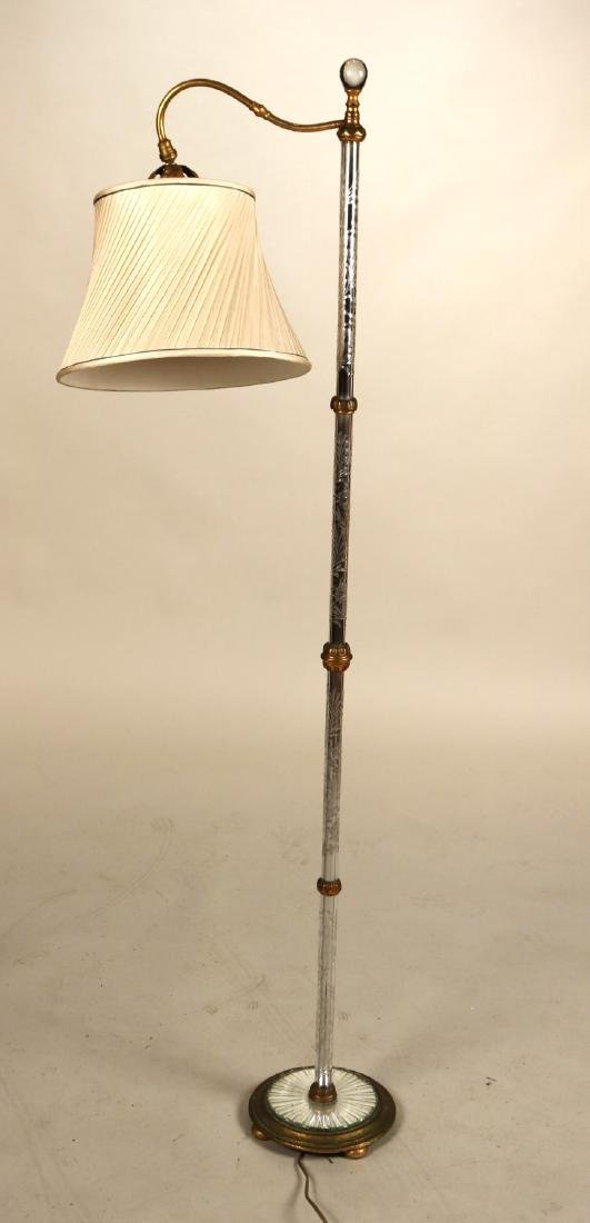 Gilt-Metal and Etched Glass Floor Lamp