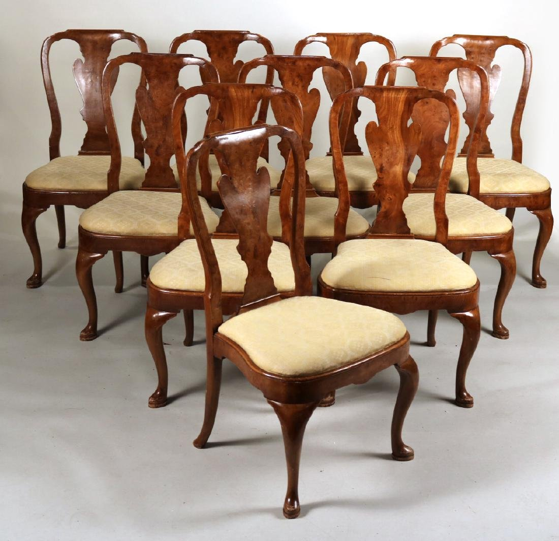 Ten Queen Anne Style Burlwood Dining Chairs