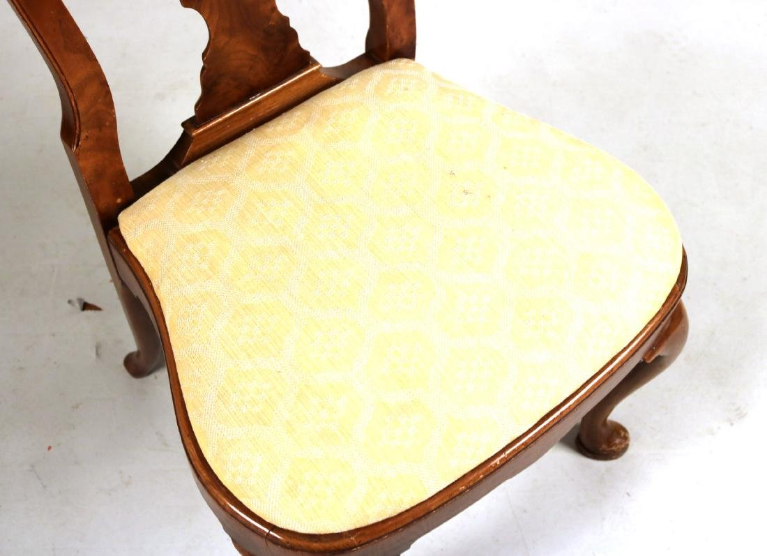 Ten Queen Anne Style Burlwood Dining Chairs - 6