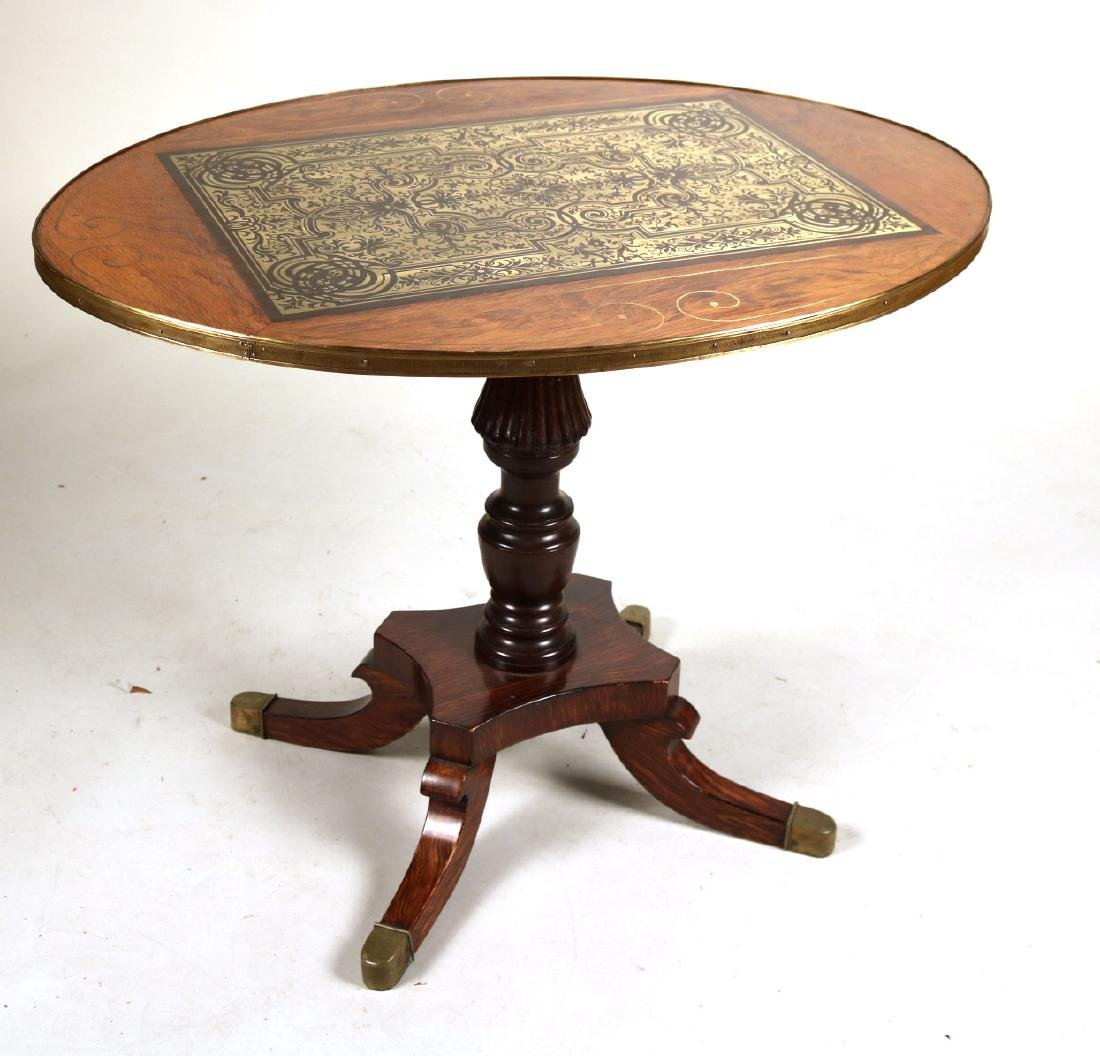 Regency Brass-Inlaid Hardwood Center Table