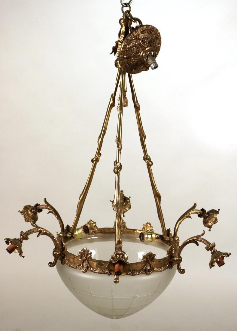 Louis XVI Style Gilt-Metal Six-Light Chandelier