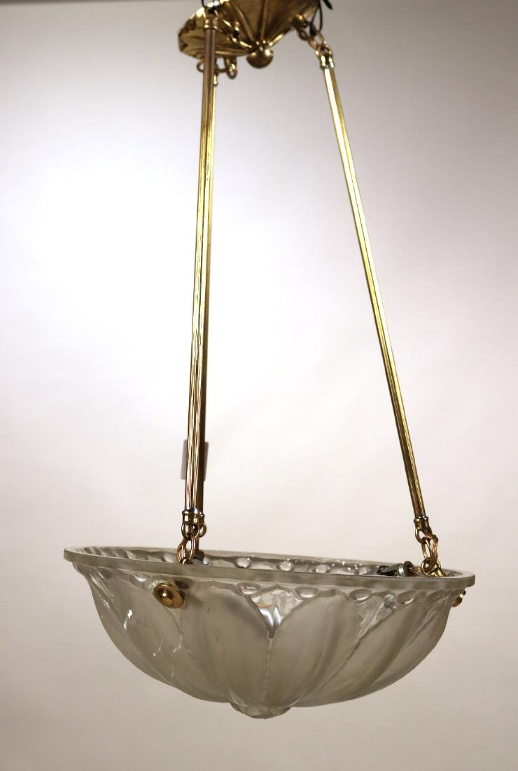 Gilt-Metal and Frosted-Glass Light Fixture