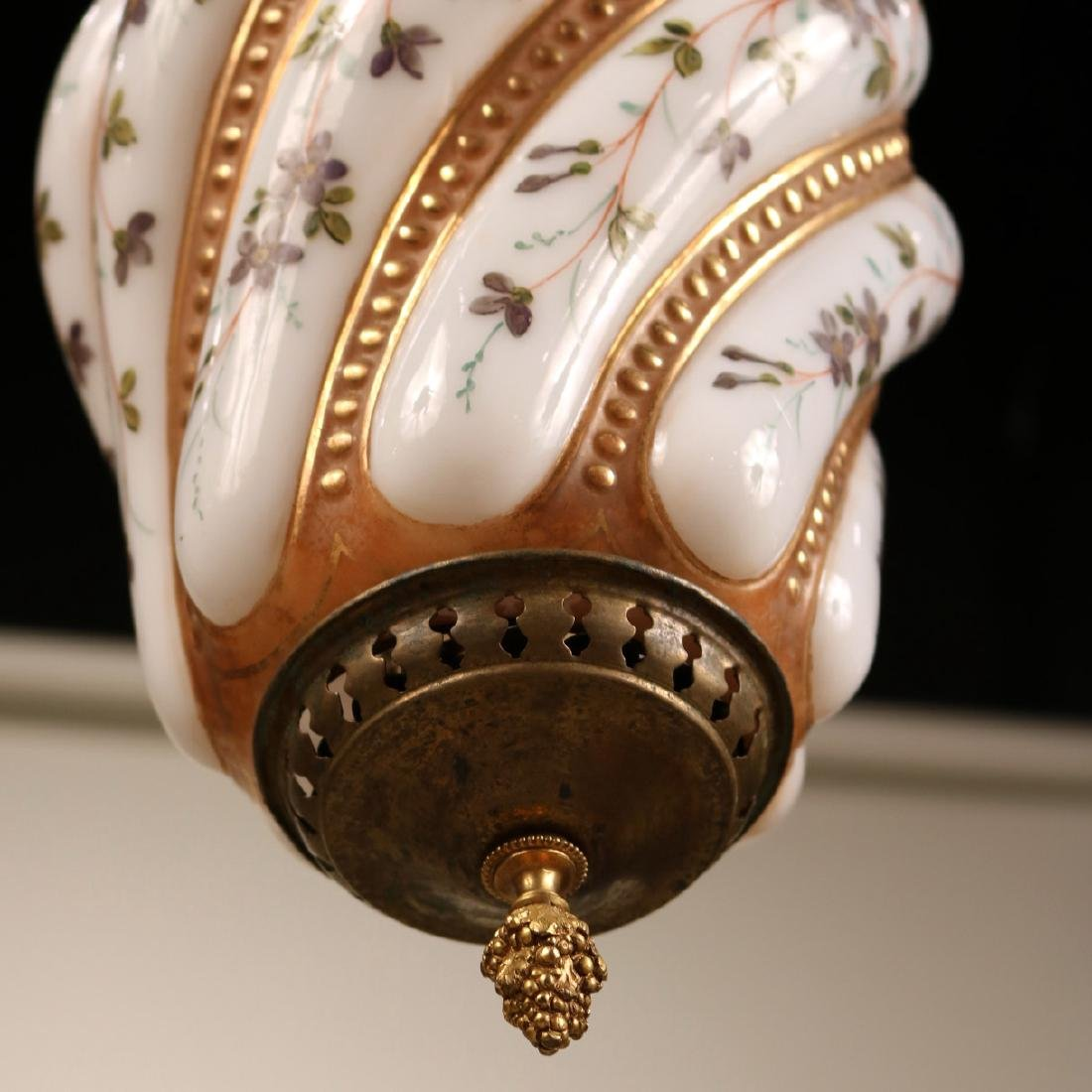 Brass and Painted Milk Glass Light Fixture - 3