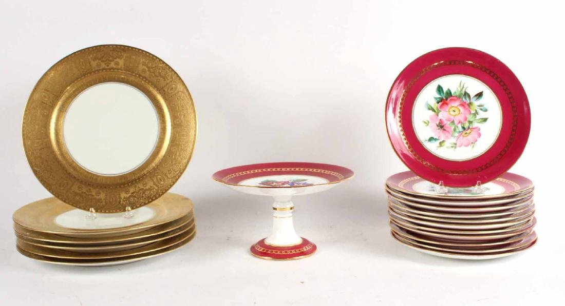 Continental Gold and Maroon Dessert Set