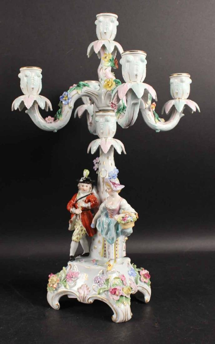 Pair of Continental Porcelain 5-Light Candelabra - 2