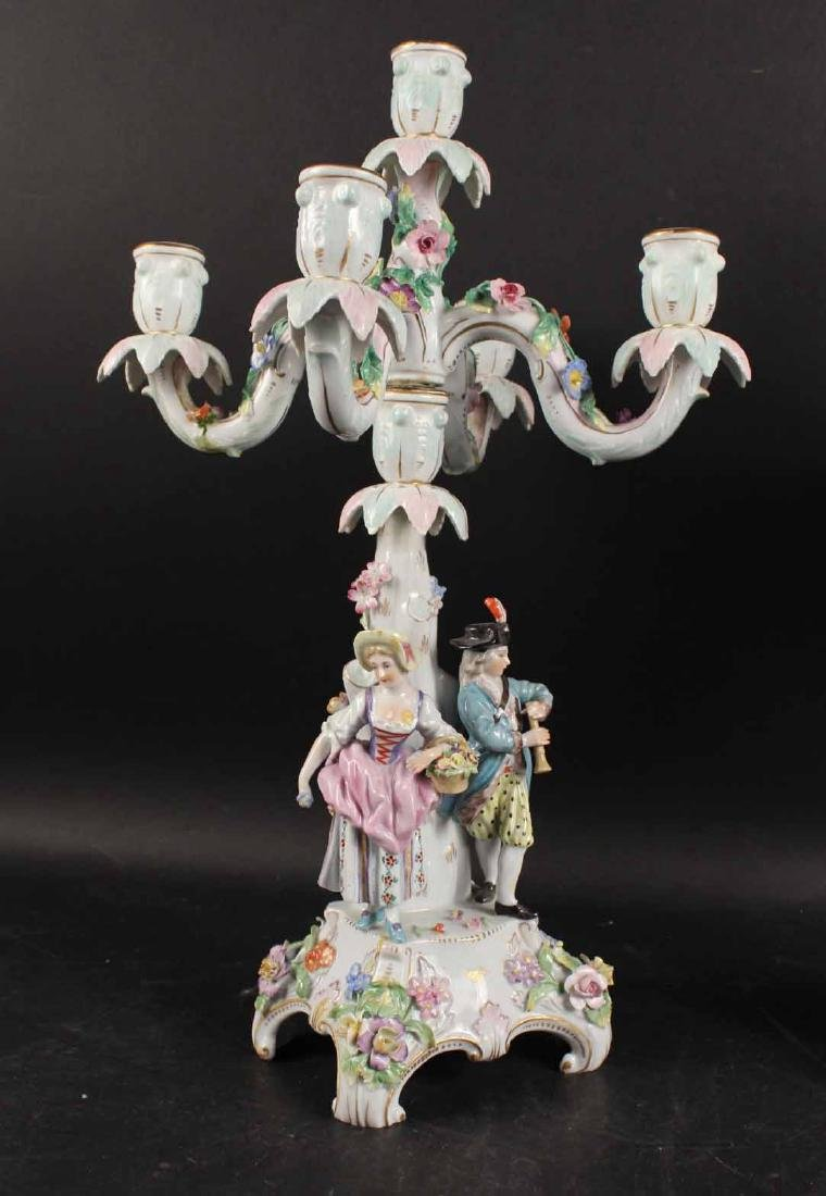 Pair of Continental Porcelain 5-Light Candelabra - 4