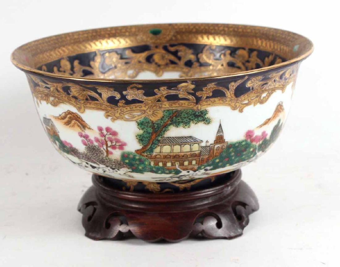 Chinese Export Fox Hunting Bowl on Stand