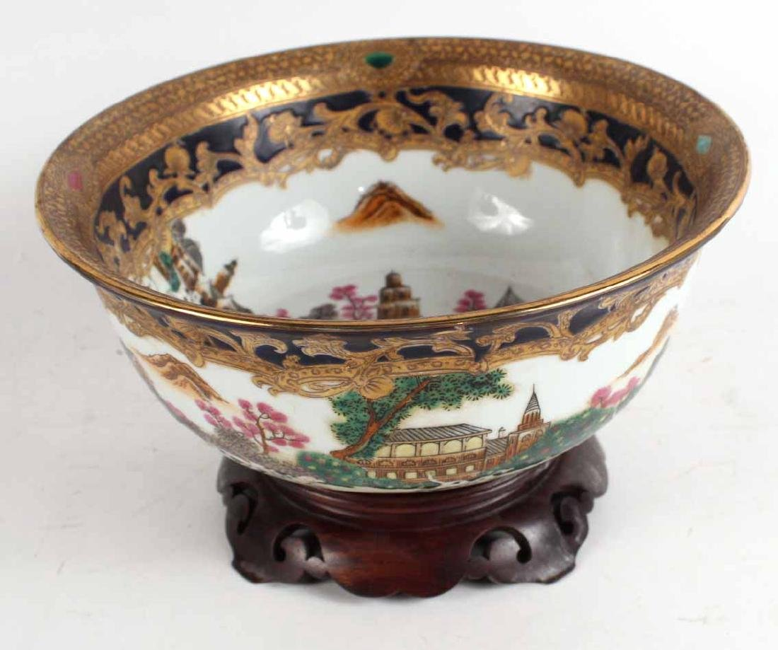 Chinese Export Fox Hunting Bowl on Stand - 2