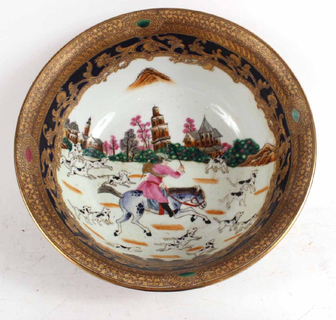 Chinese Export Fox Hunting Bowl on Stand - 3