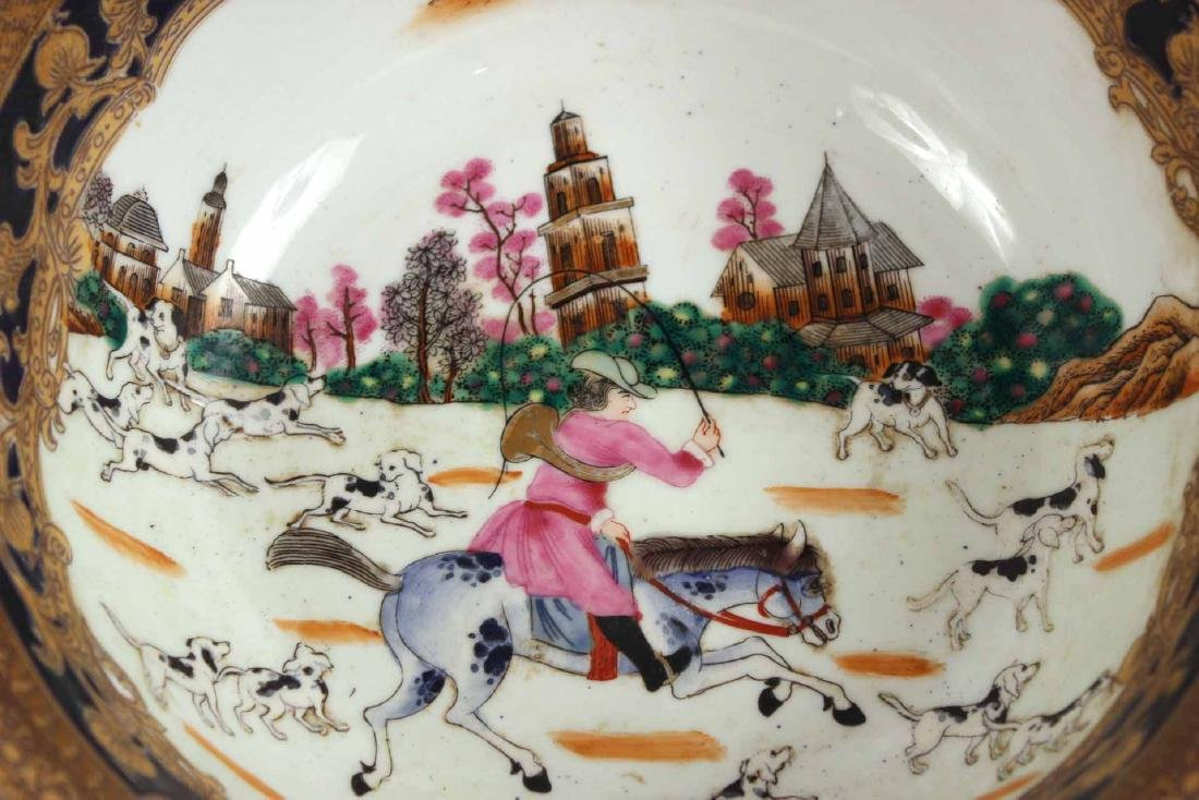 Chinese Export Fox Hunting Bowl on Stand - 4