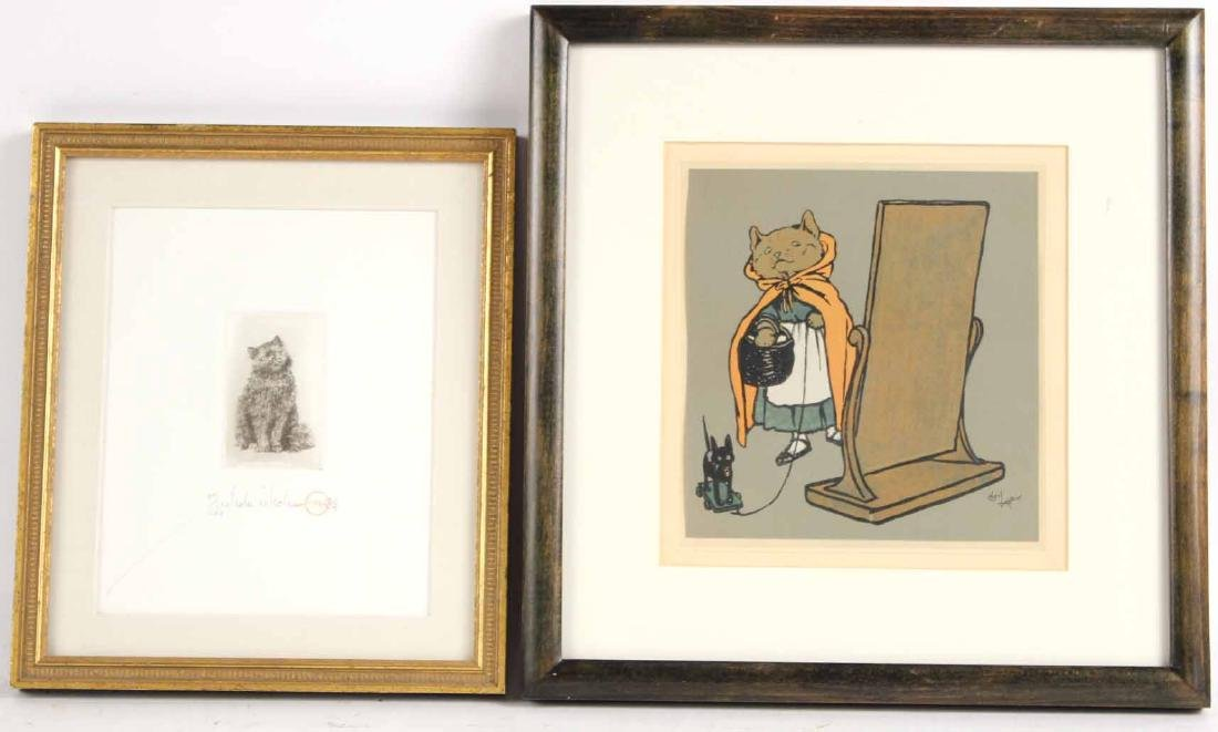 Cecil Aldin Print of Hooded Cat with Basket