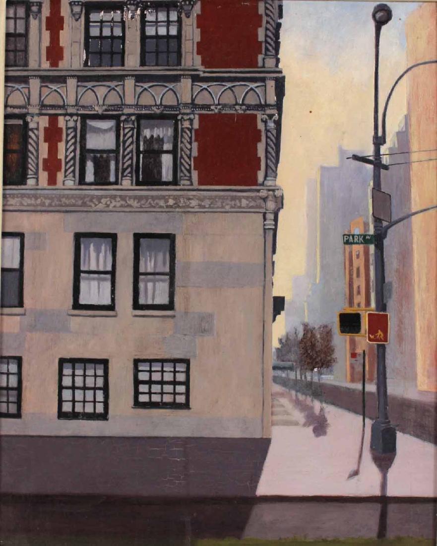 Oil on Board, Park Avenue Corner Street Scene - 2