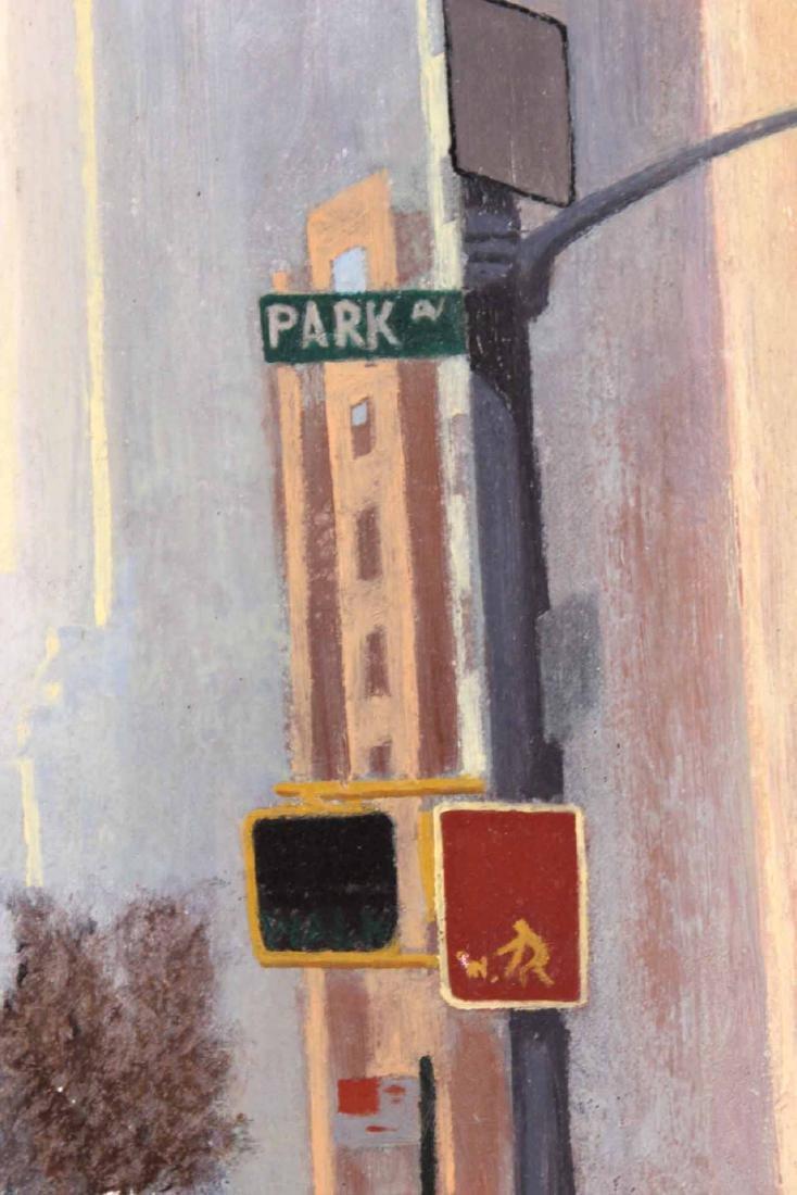 Oil on Board, Park Avenue Corner Street Scene - 7