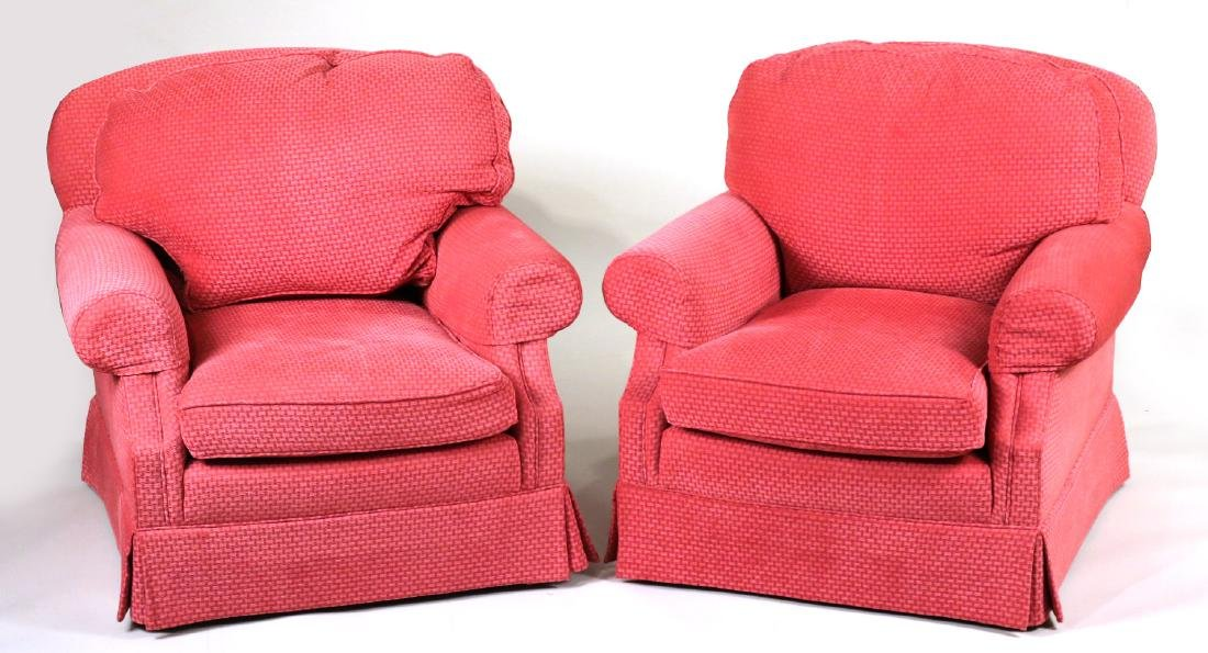 Pair of Pink-Upholstered Club Chairs