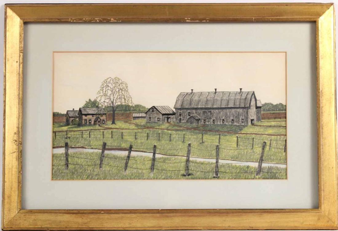 Drawing, Farm Landscape