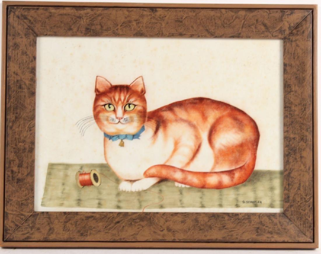 Theorem Painting on Velvet Cat Figure, G Schuyler