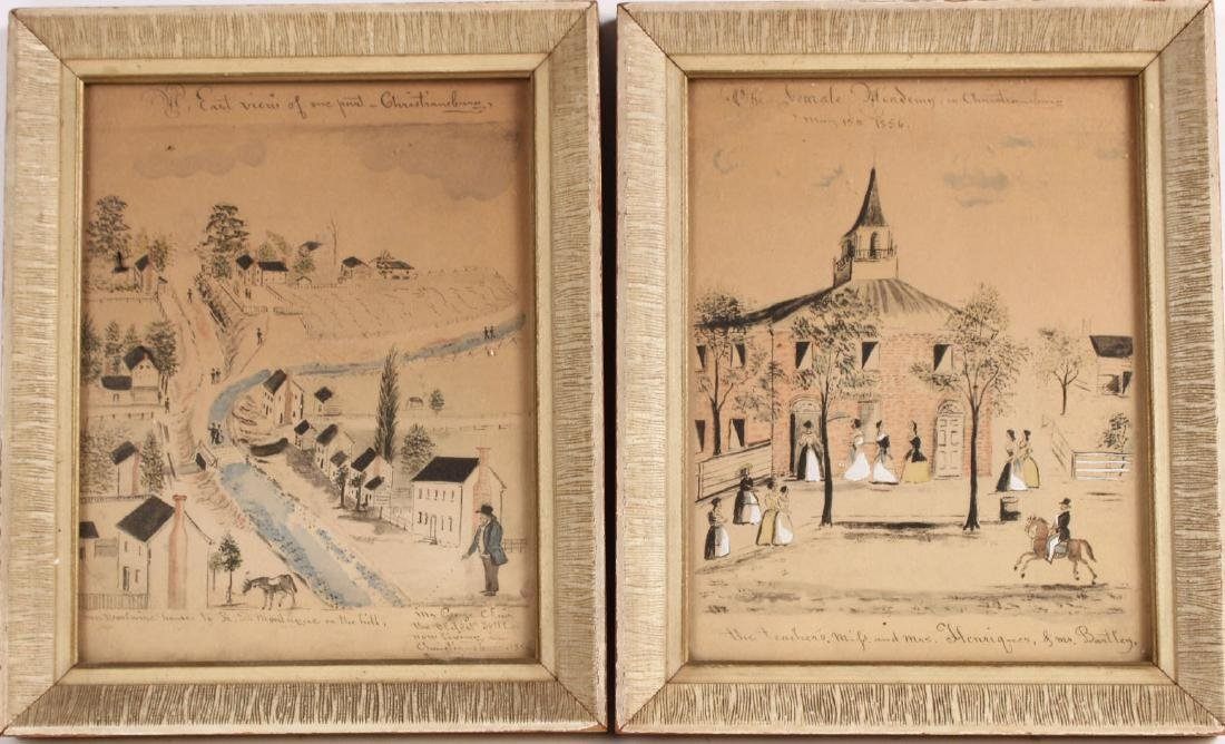 Pair of Hand-Painted Prints of Christiansburg, VA
