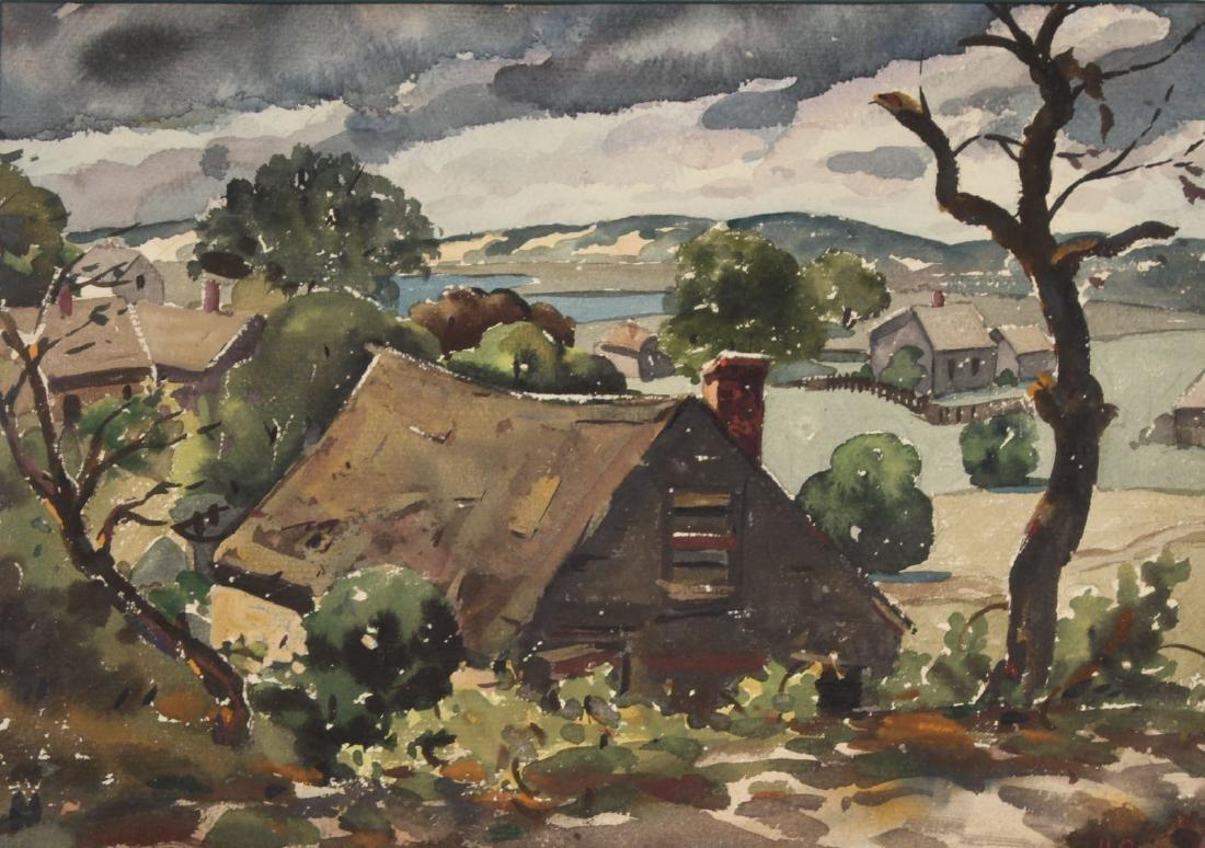 Watercolor, Hillside Cottages, Henry Gasser - 2