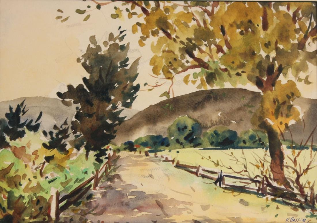 Watercolor on Paper, Country Road, Henry Gasser - 2