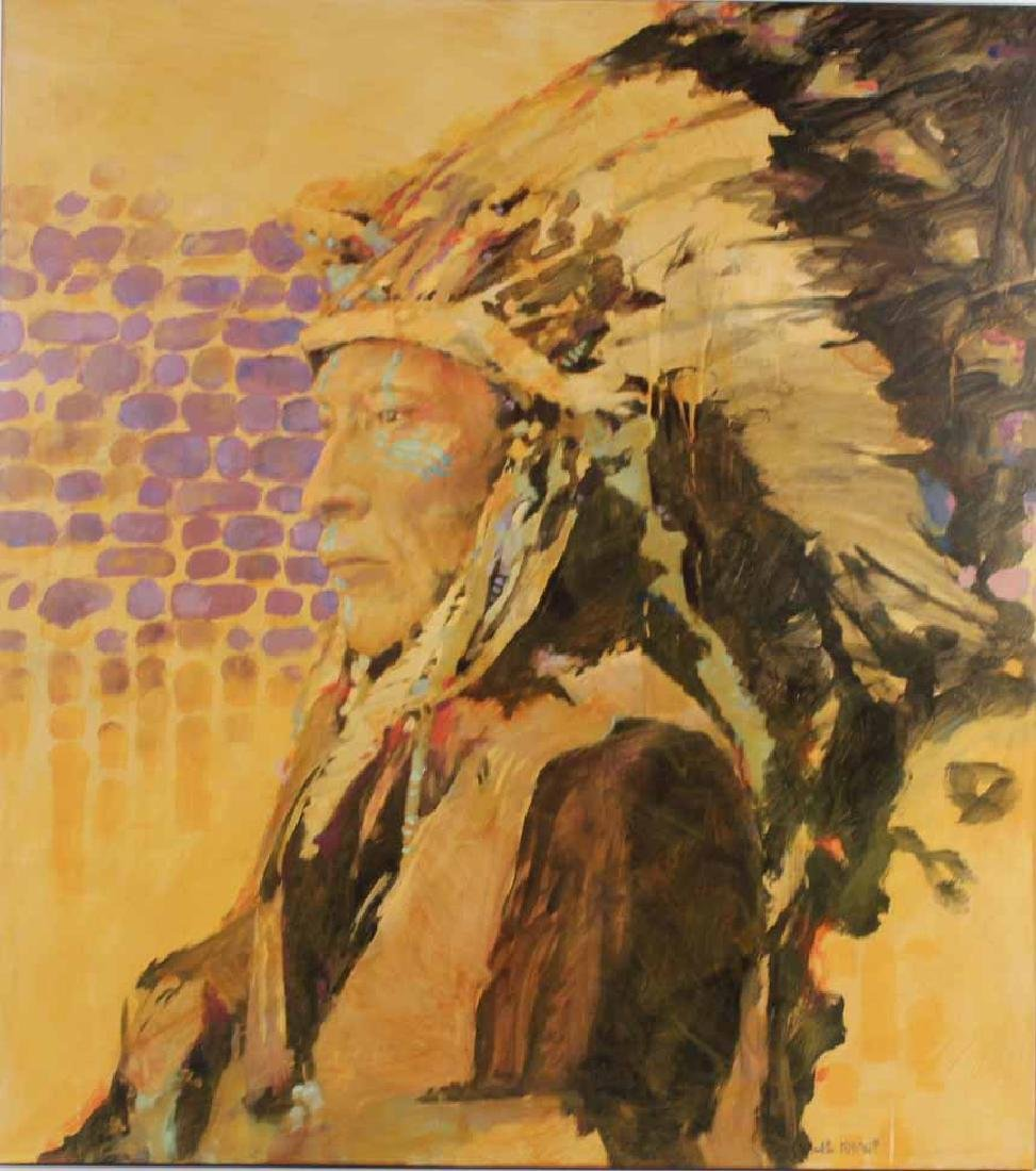 Oil on Board, Native American Chief, J.E. Knauf