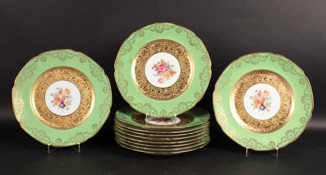 Eleven Royal Bavarian Green and Gold Chargers