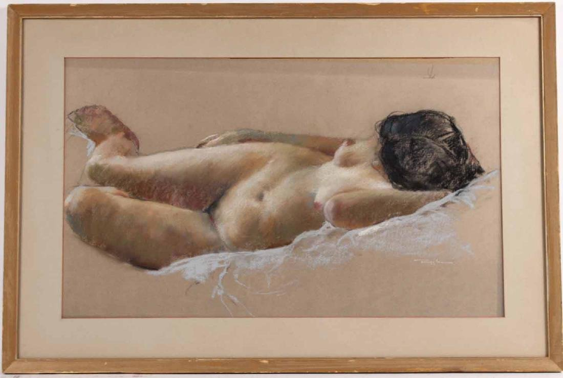 Pastel on Paper, Reclining Nude, Ruggles