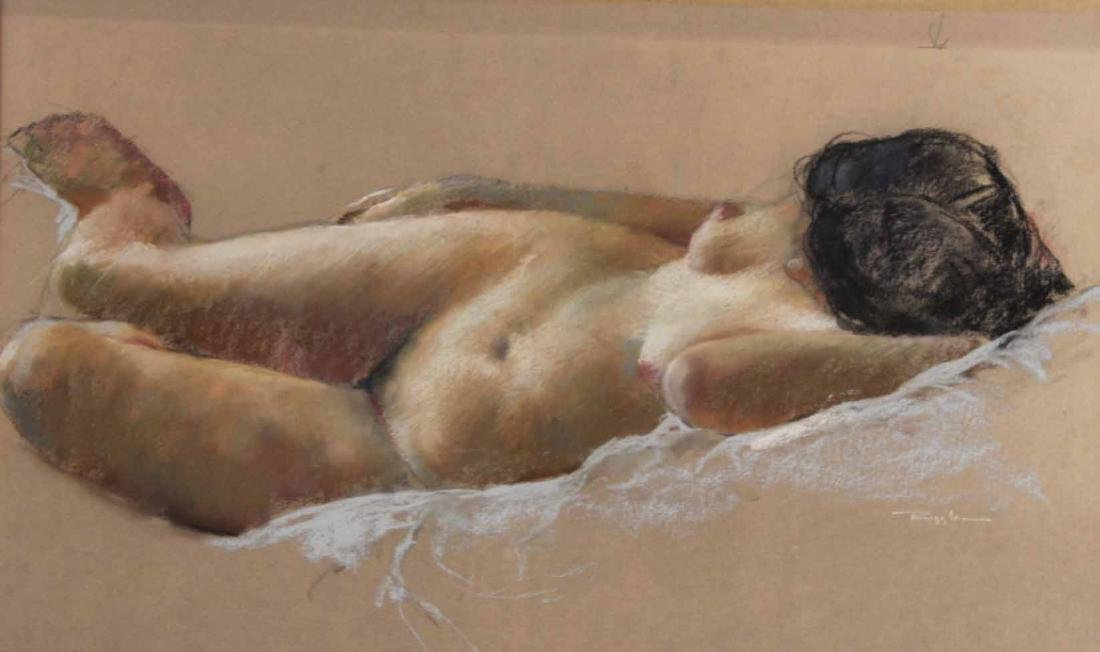 Pastel on Paper, Reclining Nude, Ruggles - 2