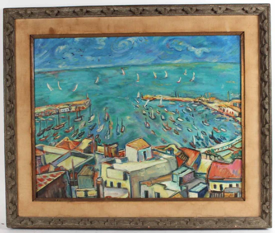 Oil on Canvas, Grecian Port, Joachim Papadopoulos