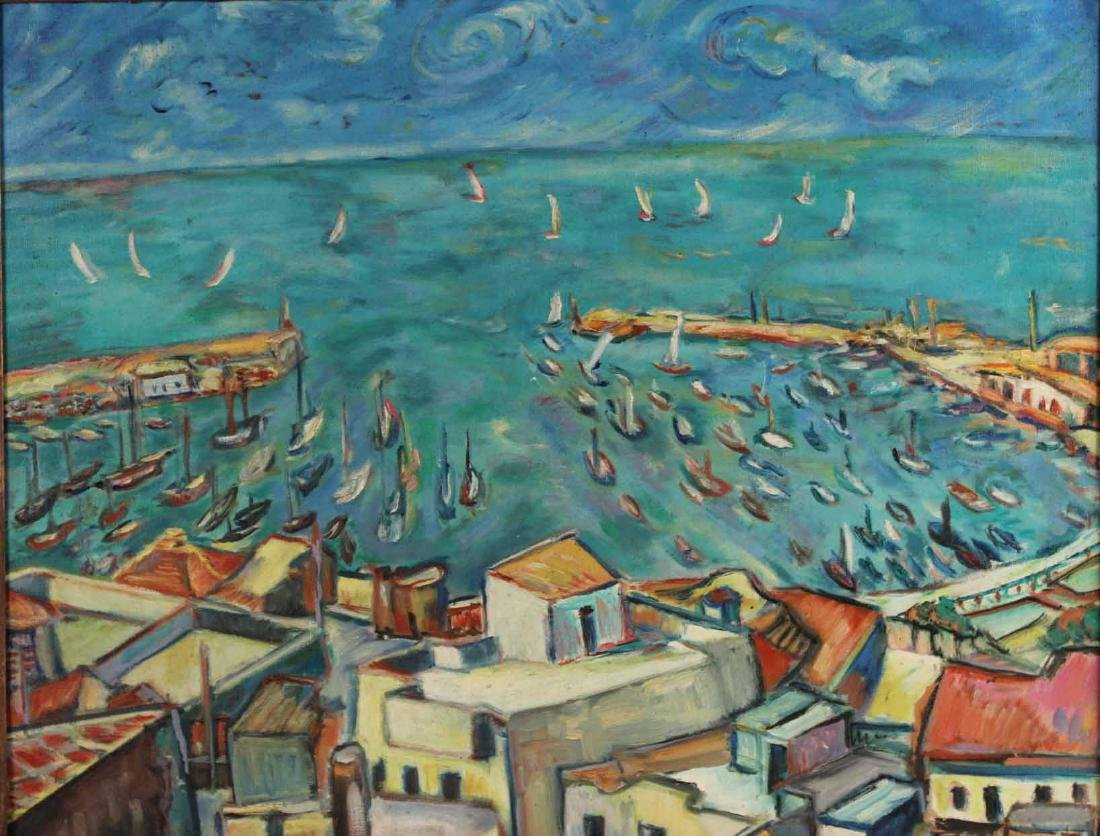 Oil on Canvas, Grecian Port, Joachim Papadopoulos - 2