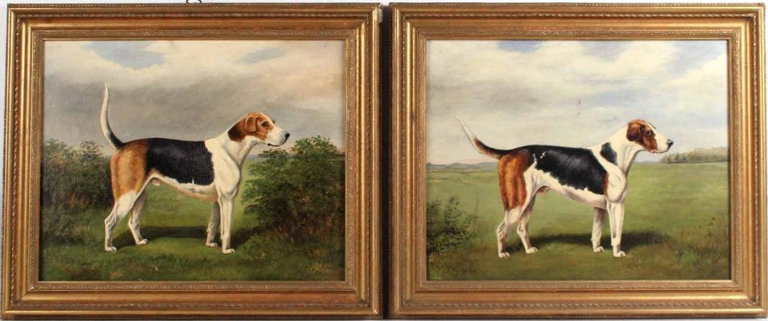 Two Oil on Canvas Spaniel Dogs